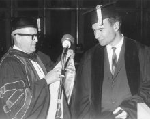 1961. Receiving honorary degree from Robert Burns, University of the Pacific, Stockton, California