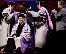 20 September 2009. Receiving Honorary Doctorate from Berklee College of Music during  Monterey Jazz festival. Clint Eastwood and Chick Corea present.