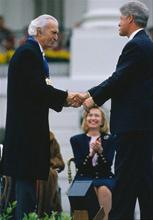 Being congratulated by President Bill Clinton,  1994, whilst receiving the National Medal of Arts.