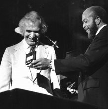 Dave receives the Ellington Medal from Willie Ruff, in 1987.