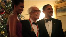 With President Barack Obama and First Lady Michelle Obama, during the Kennedy Awards, December 2009.