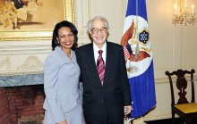 With Secretary of State Condoleezza Rice, April 8, 2008, after receiving the First  Benjamin Franklin Award for Public Diplomacy.(AP-Michael Gross)