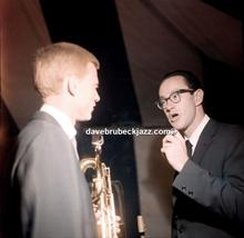 Paul Desmond and Gerry Mulligan, backstage, Newport Jazz Festival, unknown date.