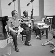 Dave and Louis Armstrong having a bite of lunch during a break in recording of 'The Real Ambassadors', September 1961.