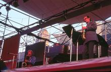 1971, Schaefer Music Festival, Central Park, NYC, Gerry Mulligan, Paul Desmond, Dave Brubeck, (Courtesy Jan Lombardi)