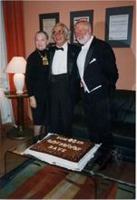 Dave with Iola and Russell Gloyd, celebrating Dave's 80th birthday.