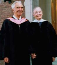 Iola and Dave in 2006, receiving honary doctorates from The University of the Pacific