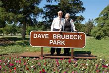 Dave & Iola in 'Dave Brubeck Park', Concord, California after ceremony to name park after Dave.