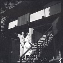 Iola & Dave on the steps of their Californian home, 1950's