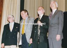 Randy Jones, Jack Six, Bill Smith and Dave Brubeck after performing at Duisburg University, 1994.