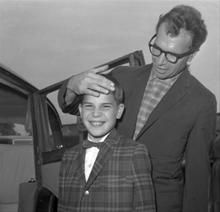 With 13 year old Christopher, 1961, London Airport