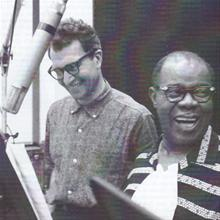 Dave Brubeck and Louis Armstrong during recording session for 'Real Ambassadors'.