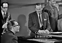 Columbia President, Gorrard Lieberson with Paul Desmond, Dave Brubeck and  Eugene Wright
