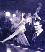 From the photo shoot of 'Dave Brubeck, Red Hot and Cool', model Suzy Parker and Dave Brubeck