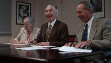 Iola and Dave with UOP President Daniel deRosa, signing archive material to UOP, 2001