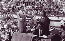 1958, The Monterey Jazz Festival Symphony. Dave and Paul with George Millar, conductor. (copyright Arthur McEwan)