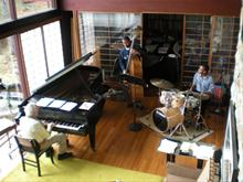 Rehearsing at home in Wilton with Brubeck Institue students, Chris Smith, bass and Corey Cox, drums
