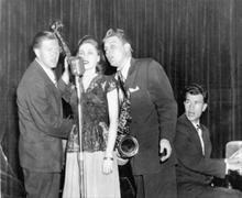 The Three D's. Don Ratto, Darrell Cutler, Dave Brubeck with singer Frances Lynne.