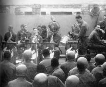 The Wolf Pack Army Band. Dave and his Army colleagues, playing for 'The Troops' in Europe during WWII,1945.
