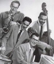 1951. Paul Desmond, Herb Barman, Dave Brubeck and Wyatt 'Bull' Ruther