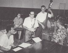 1956. Dave Brubeck, Joe Dodge, Norman Bates, Paul Desmond with composer Howard Bruebeck (Dave's brother)